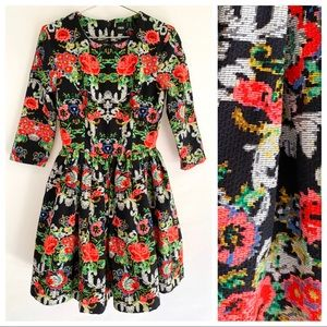 ASOS Fit & Flare Floral Mini Dress 2 RUNS SMALL
